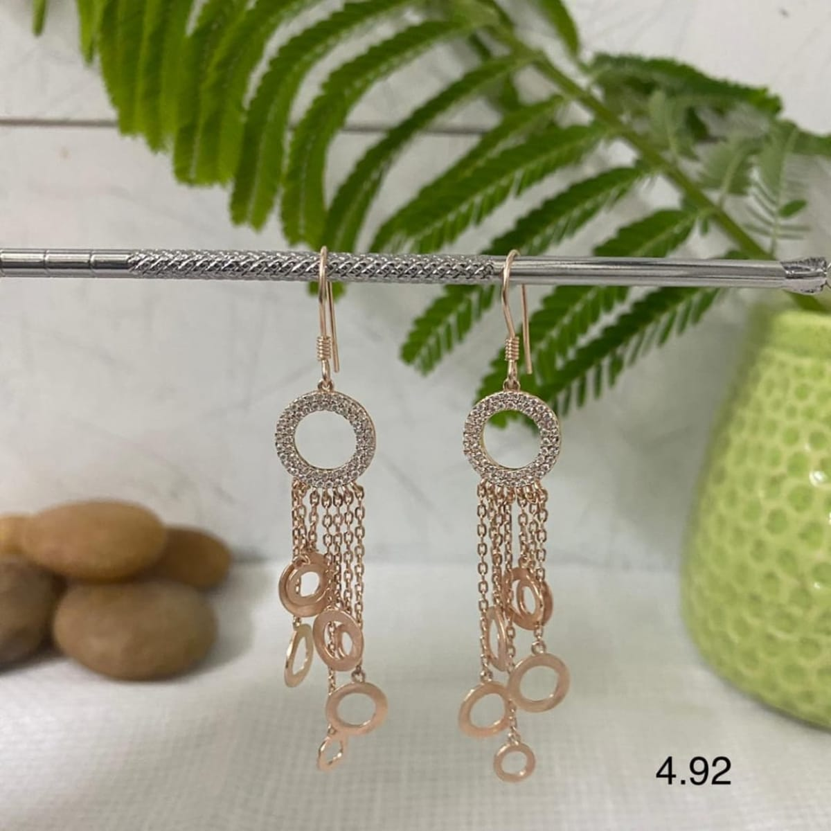 Cza  Rose Gold Plated Silver Earings