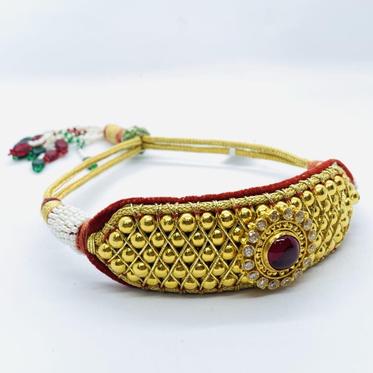 Gold Designer Bead Bajubandh