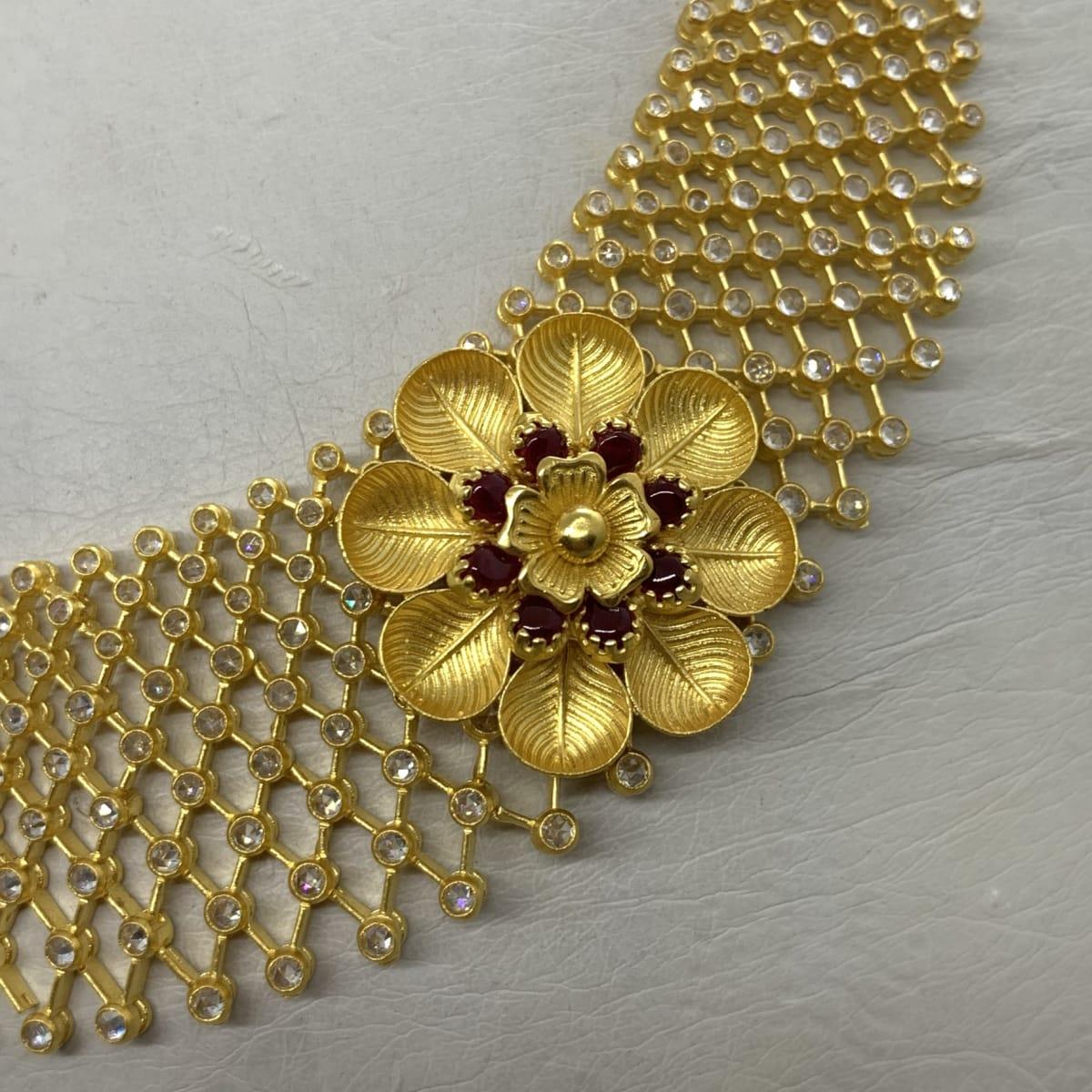 Floral Cz Necklace Set