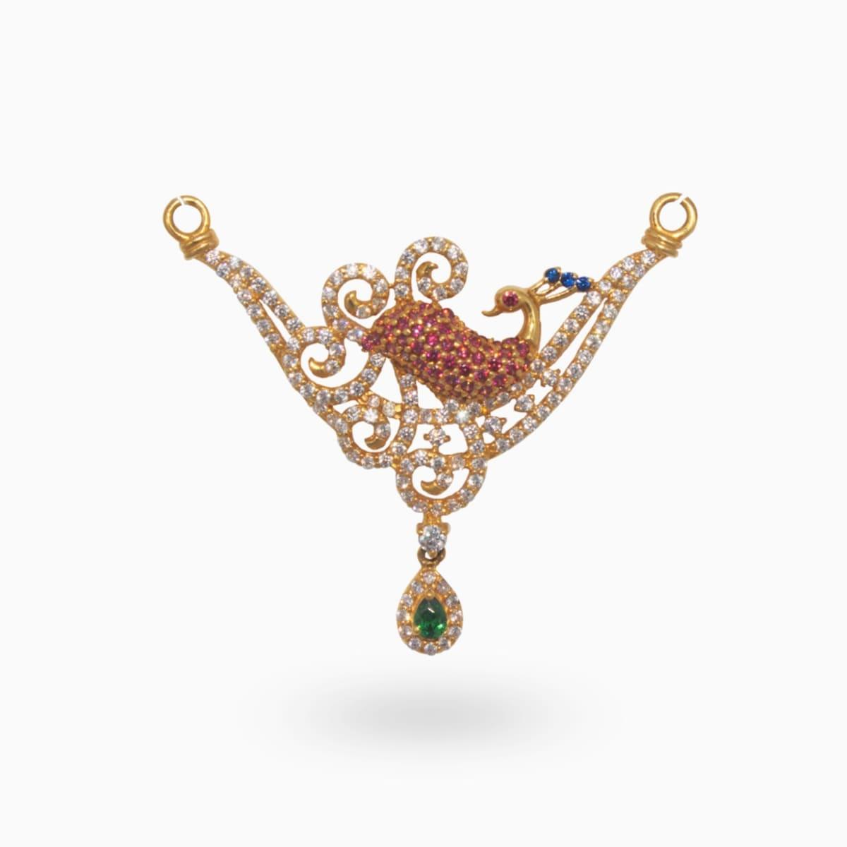 Fancy Stone Peacock Double Hook Pendant