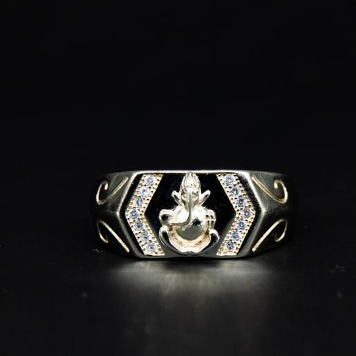 925 Silver Zircon Ganesha Ring