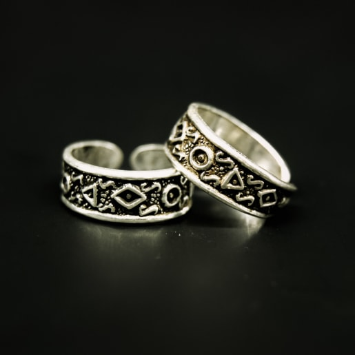 925 Silver Ornate Toe Rings