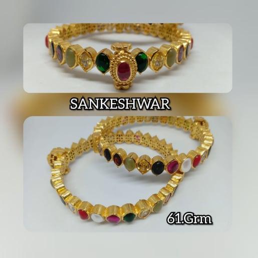 925 Silver Gold-plated Navratna Bangles