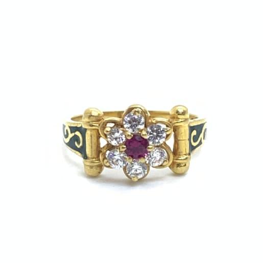 Cz Designer Enamel Ring