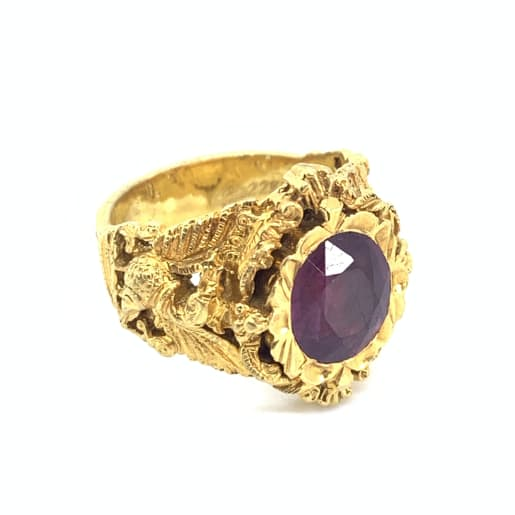 Peacock Pink Stone Ring