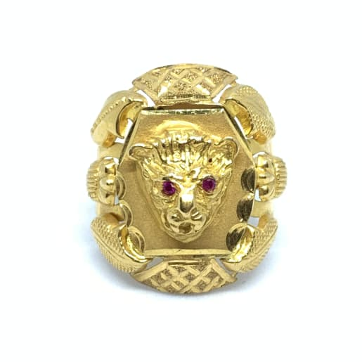 Lion Face Cz Gold Ring