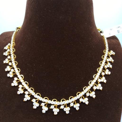 Round Leaf Style Cz Necklace