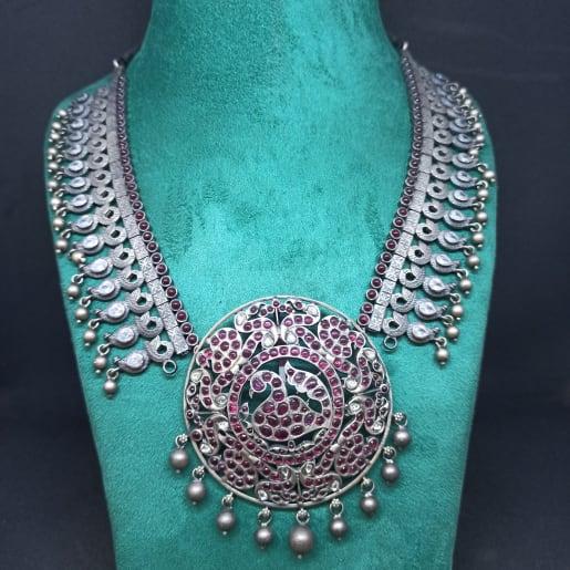 Peacock  Maroon Stone Necklace