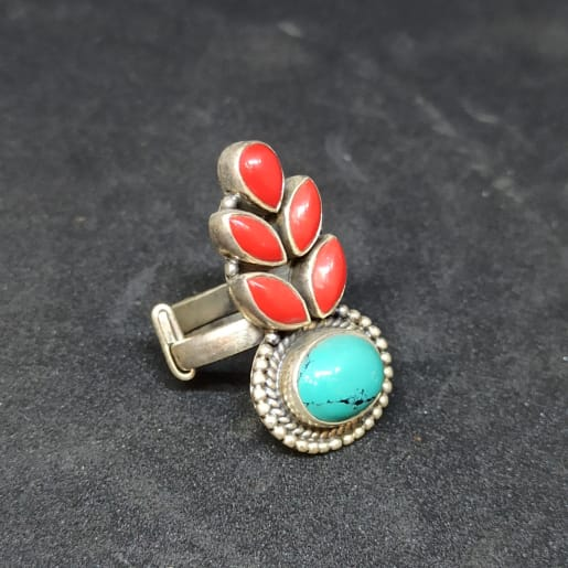 Red And Blue Stone Ring