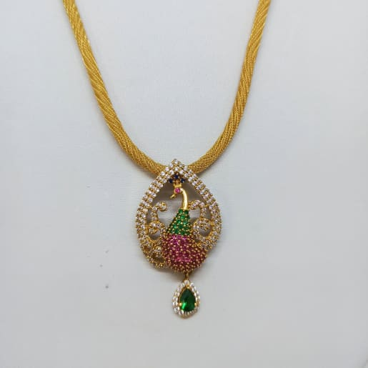 Peacock Cz Snake Chain Necklace