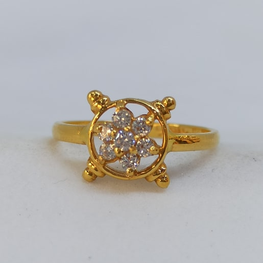 Round Floral Cz Ring