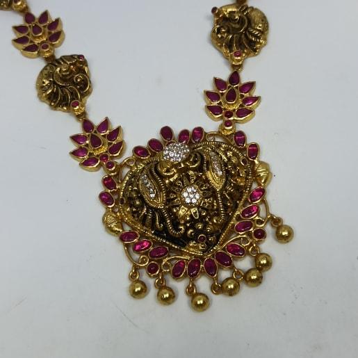 Peacock Floral Antique Necklace