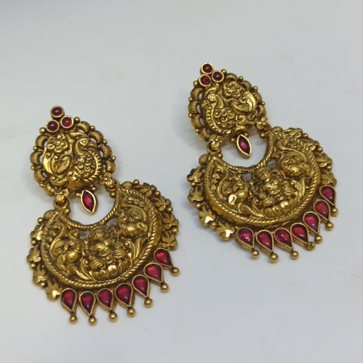 Lakshmi Antique Gold Chaand Bali