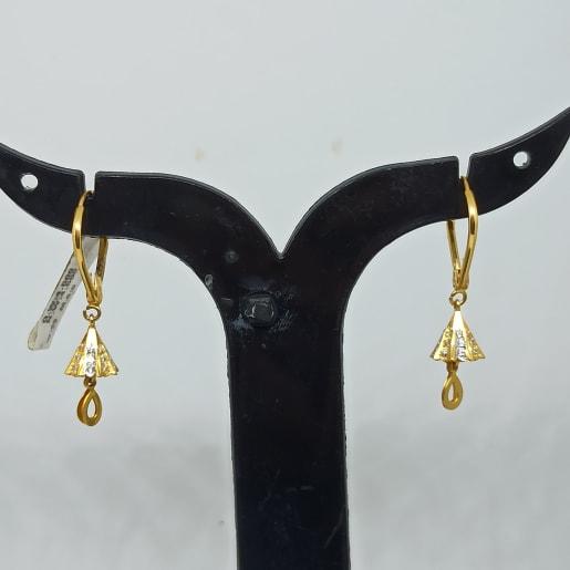 Pyramid Drop Gold Earrings