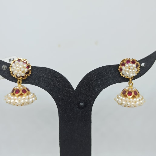 Bina Moti Gold Earrings