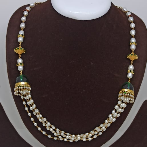 Green Stone Moti Necklace Set