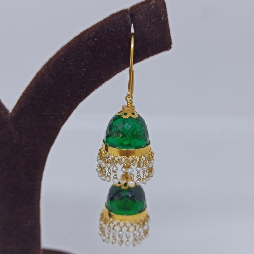 Green Stone Moti Earrings