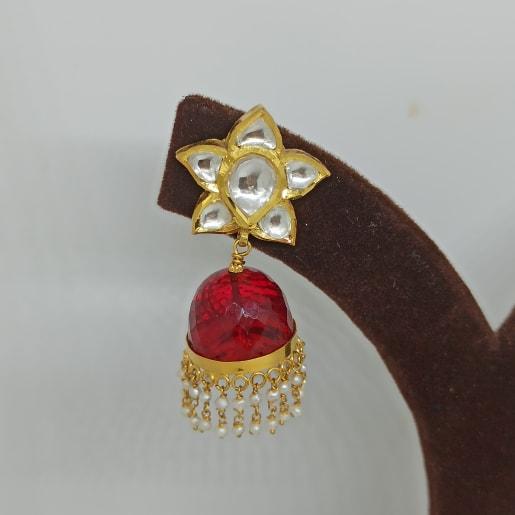 Red Stone Jhumka