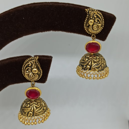 Peacock Antique Nakash Jhumka