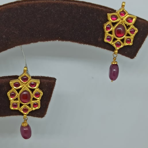 Red Stone Kundan Earrings