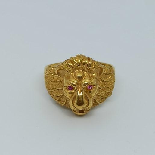 Lion Ruby Cz Ring