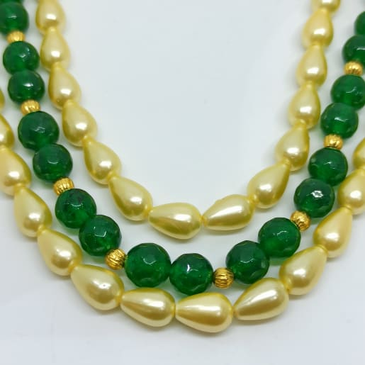 White Green Bead Necklace