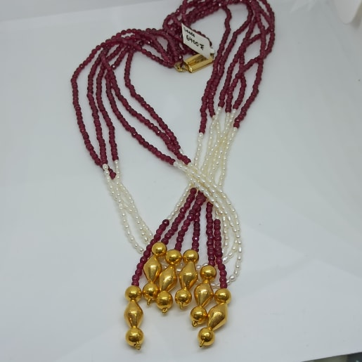 Red White Beads Necklace