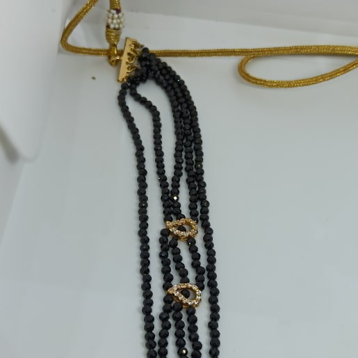 Black Bead Gold Necklace