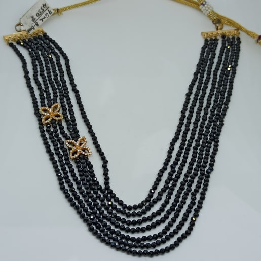 Black Bead Floral Necklace