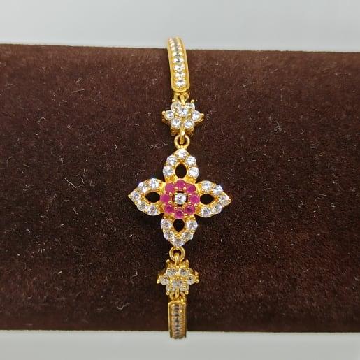 Flower Cz Colorstone Bracelet