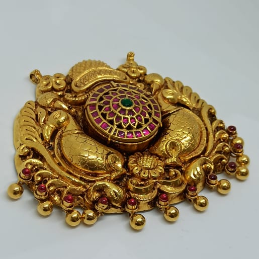 Peacock Antique Kundan Pendant