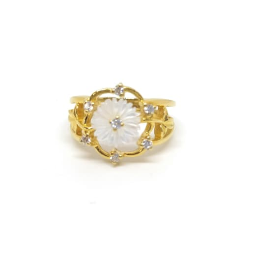 Meena White Flower Cz Ring