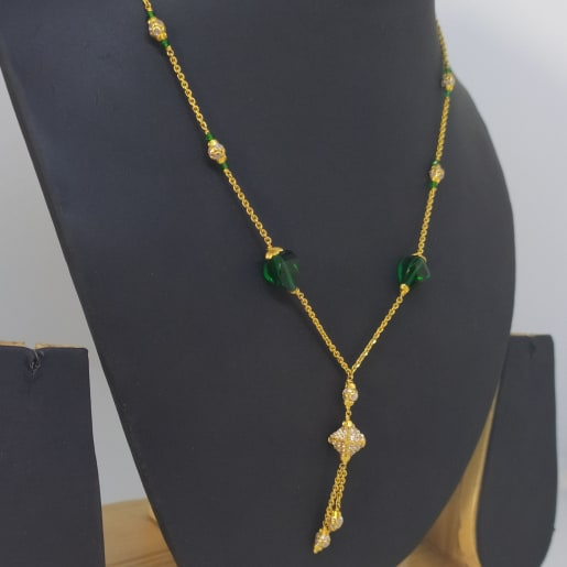 Green Stone And Cz Chain