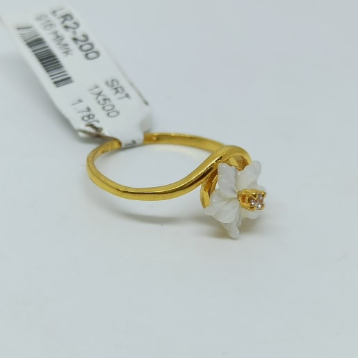 Flower Pearl Cz Ring