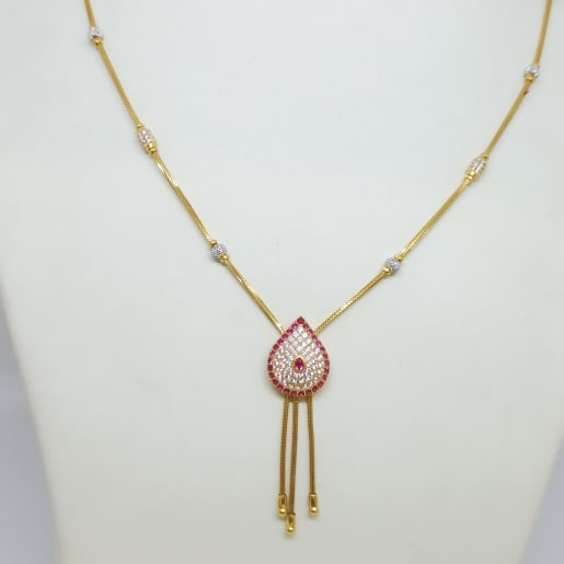 Drop Cz Colorstone Necklace