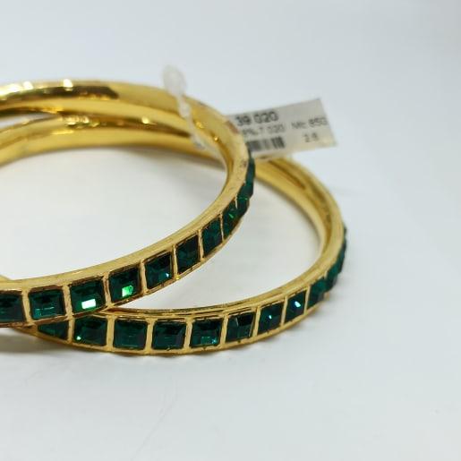 Green Stone Cz Bangles