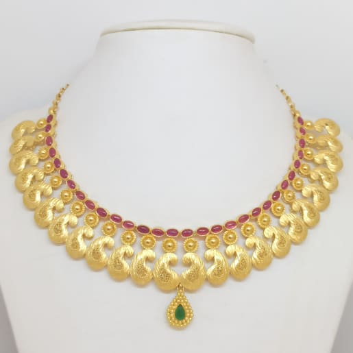 Mango Shape Stone Necklace