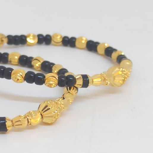Black Beads Gold Bangles