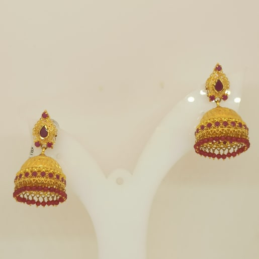 Red Stone Traditional Jhumka
