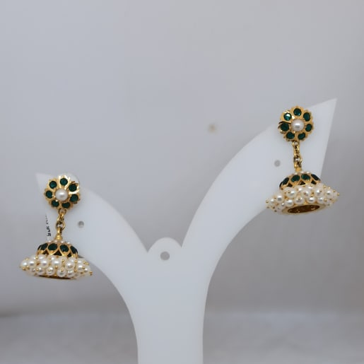 Moti And Green Stone Jhumka