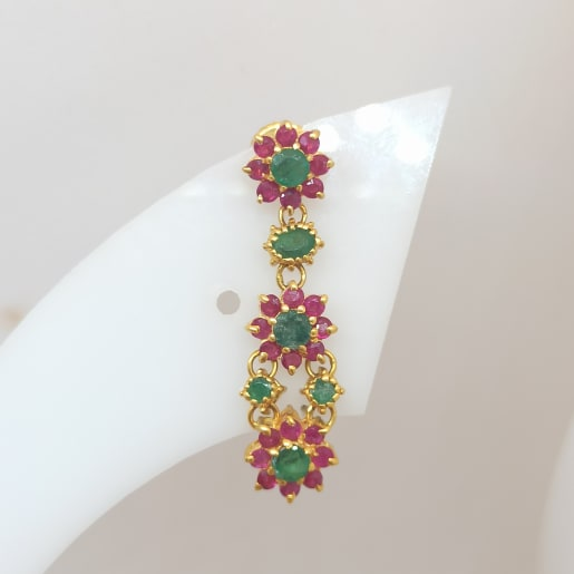Pink Flower With Green Stone Earring