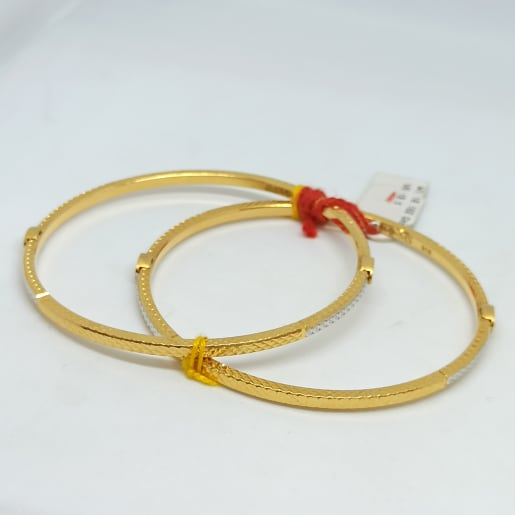 Plain Gold White Dot Bangles