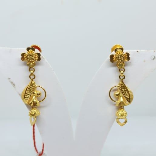 Floral Plain Gold Earrings