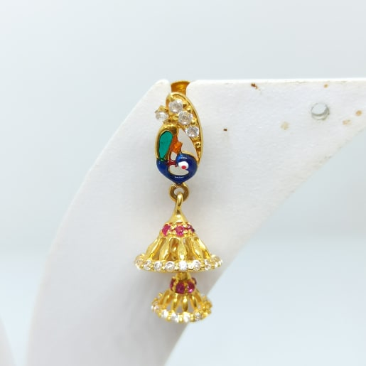 Peacock Enamel Cz Earrings