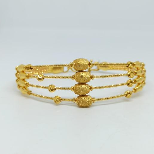 Oval Bead Plain Gold Kada