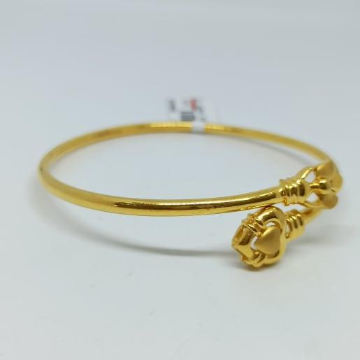 Lotus Heart Plain Gold Kada