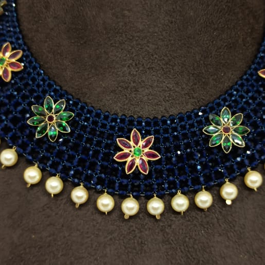 Blue Moti Kundan Necklace