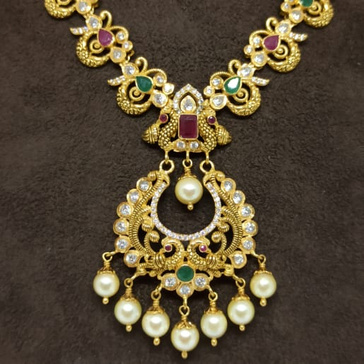 Antique Designer Cz Necklace Set