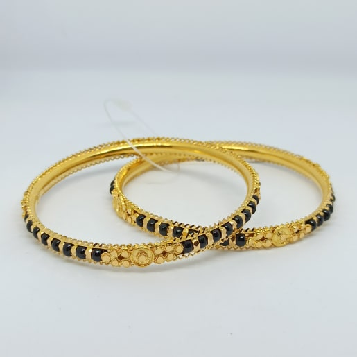 Black Bead Gold Bangles