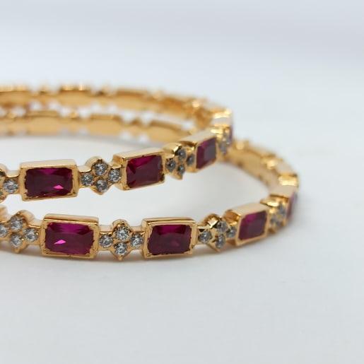 Ruby Cz Gold Bangles